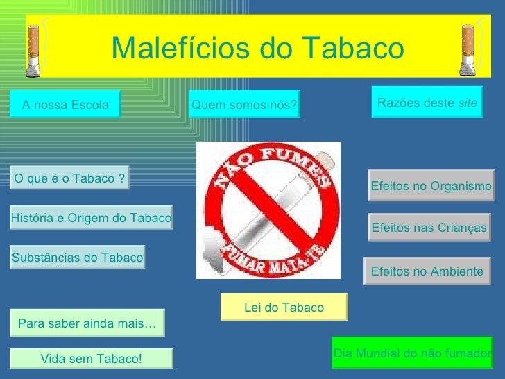 Malefícios do Tabaco Quem somos nós? A nossa Escola História e Origem do Tabaco Efeitos no Organismo Vida sem Tabaco! Para...