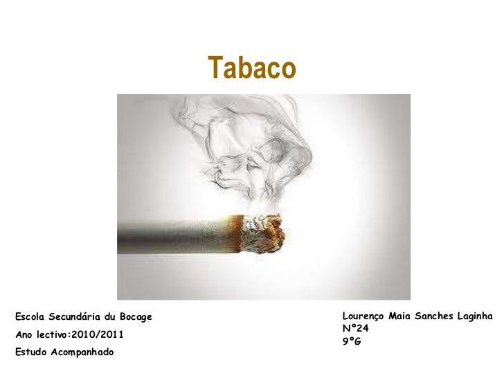 Tabaco<br />Lourenço Maia Sanches Laginha<br />Nº24<br />9ºG<br />Escola Secundária du Bocage<br />Ano lectivo:2010/2011<b...