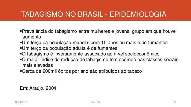 TABAGISMO NO BRASIL - EPIDEMIOLOGIA Prevalência do tabagismo entre mulheres e jovens, grupo em que houve aumento Um terç...