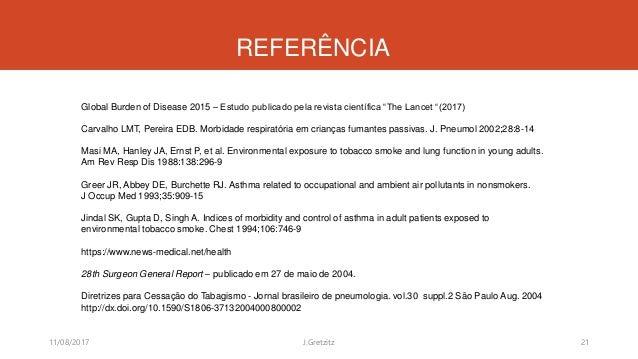 """REFERÊNCIA Global Burden of Disease 2015 – Estudo publicado pela revista científica """"The Lancet """"(2017) Carvalho LMT, Pere..."""