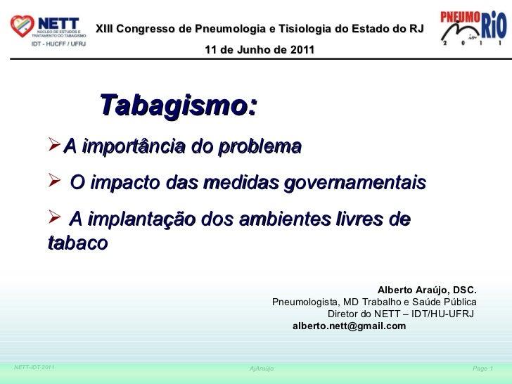 Alberto Araújo, DSC. Pneumologista, MD Trabalho e Saúde Pública Diretor do NETT – IDT/HU-UFRJ  [email_address]   <ul><li>T...