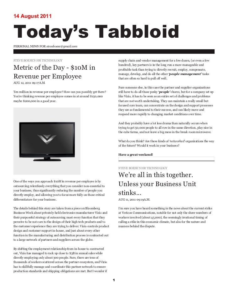 14 August 2011Today's TabbloidPERSONAL NEWS FOR steveboese@gmail.comSTEVE BOESE'S HR TECHNOLOGY                           ...