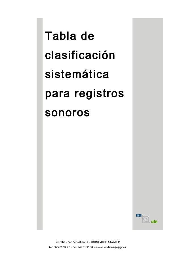 Tabla de clasificación sistemática para registros sonoros Donostia - San Sebastian, 1 – 01010 VITORIA-GASTEIZ tef. 945 01 ...
