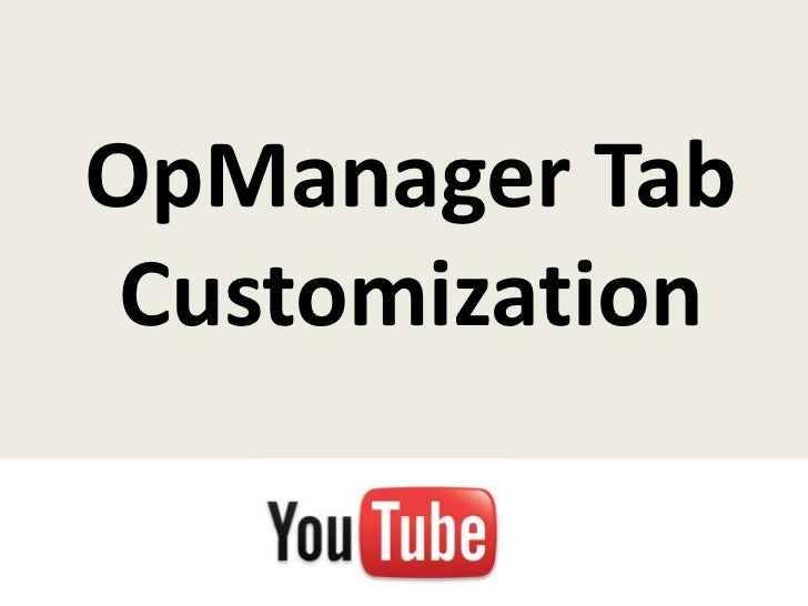 OpManager Tab Customization