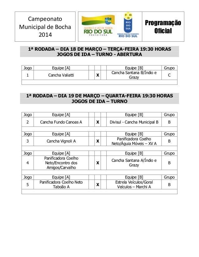 Campeonato Municipal de Bocha 2014 Programação Oficial 1ª RODADA – DIA 18 DE MARÇO – TERÇA-FEIRA 19:30 HORAS JOGOS DE IDA ...