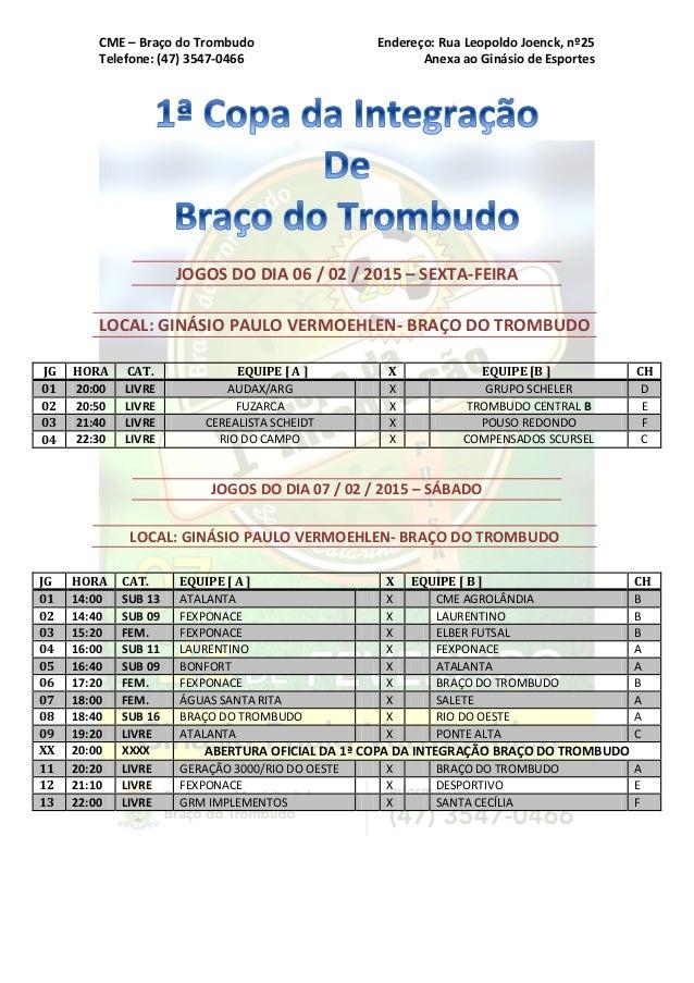 CME – Braço do Trombudo Endereço: Rua Leopoldo Joenck, nº25 Telefone: (47) 3547-0466 Anexa ao Ginásio de Esportes JOGOS DO...