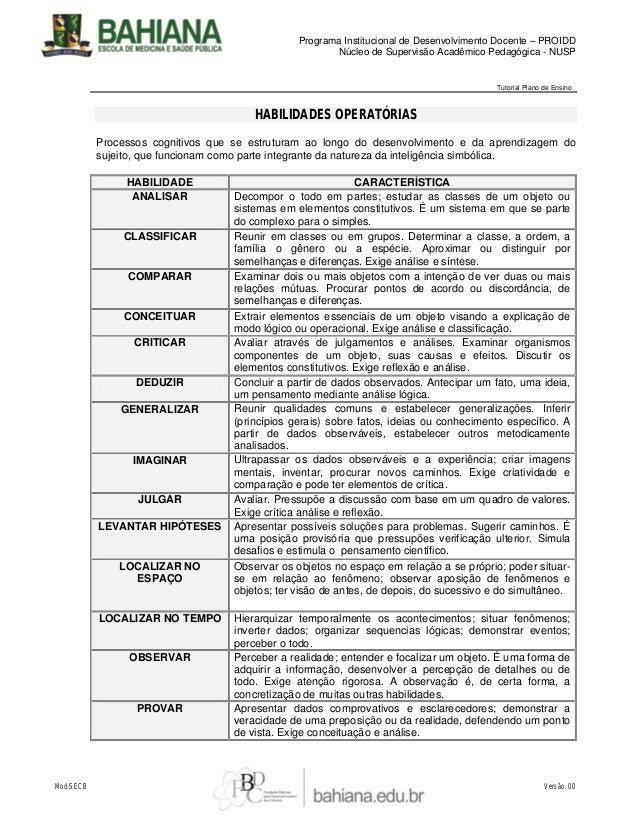 Programa Institucional de Desenvolvimento Docente – PROIDD Núcleo de Supervisão Acadêmico Pedagógica - NUSP  Tutorial Plan...