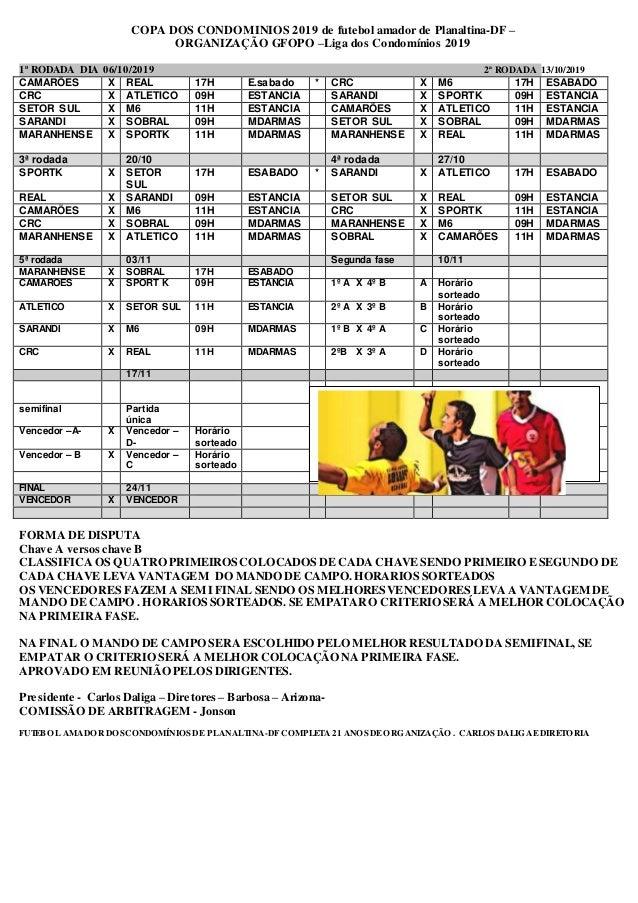 COPA DOS CONDOMINIOS 2019 de futebol amador de Planaltina-DF – ORGANIZAÇÃO GFOPO –Liga dos Condomínios 2019 1ª RODADA DIA ...