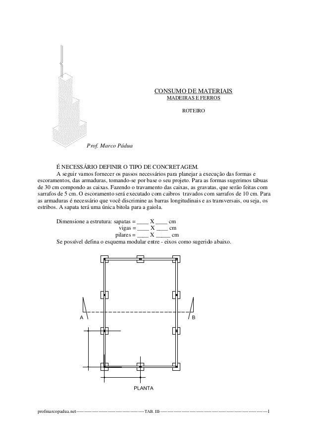 Prof. Marco Pádua  CONSUMO DE MATERIAIS  MADEIRAS E FERROS  ROTEIRO  É NECESSÁRIO DEFINIR O TIPO DE CONCRETAGEM.  A seguir...