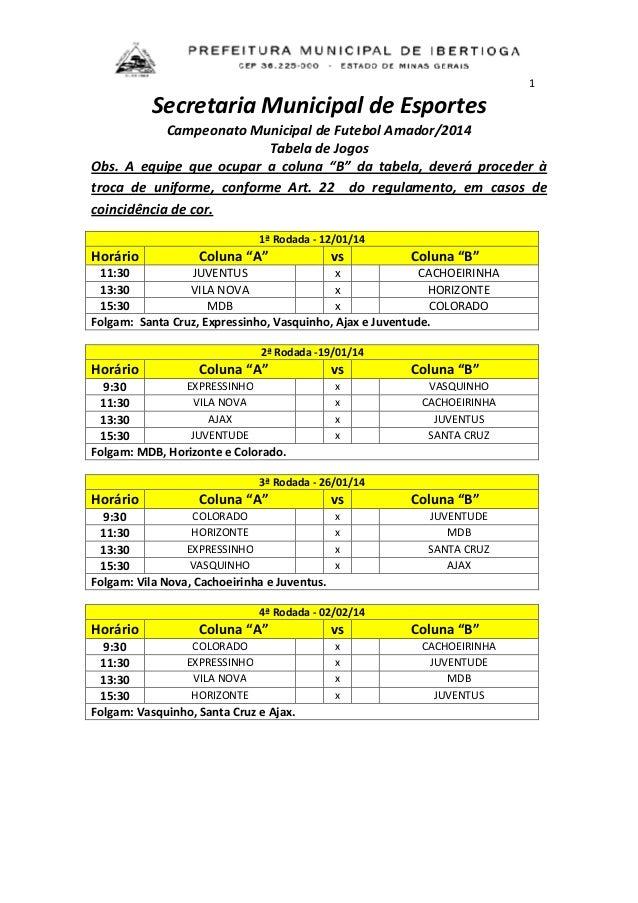 1  Secretaria Municipal de Esportes Campeonato Municipal de Futebol Amador/2014 Tabela de Jogos Obs. A equipe que ocupar a...
