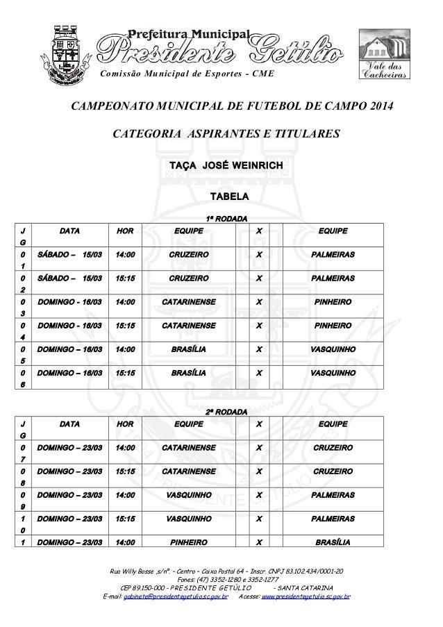Comissão Municipal de Esportes - CME CAMPEONATO MUNICIPAL DE FUTEBOL DE CAMPO 2014 CATEGORIA ASPIRANTES E TITULARES TAÇA J...