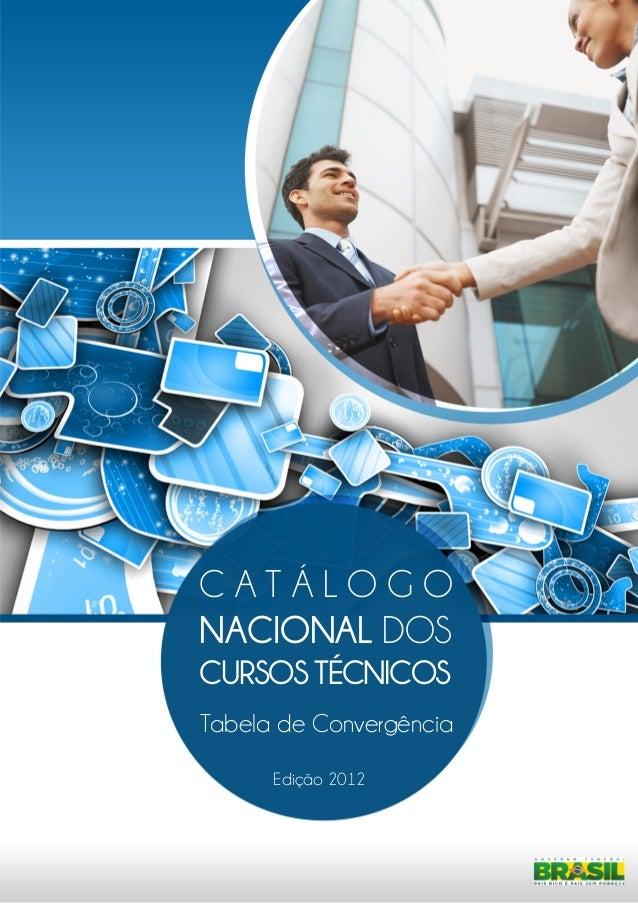 C A T Á LO G O  NACIONAL DOS  CURSOS TÉCNICOS  Tabela de Convergência  Edição 2012