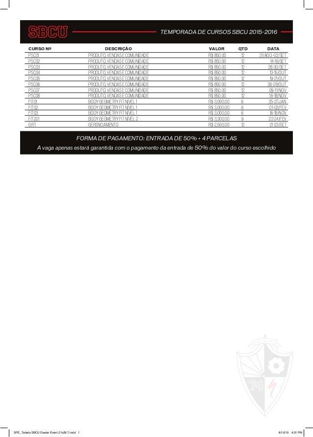 CURSO Nº DESCRIÇÃO VALOR QTD DATA PSC01 R$ 850.00 12 31/AGO -02/SET PSC02 PRODUTO, VENDAS E COMUNIDADE R$ 850.00 12 14-16/...