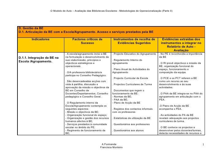 O Modelo de Auto – Avaliação das Bibliotecas Escolares : Metodologias de Operacionalização (Parte II)     D. Gestão da BE ...