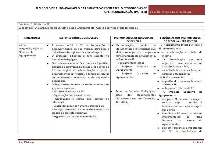 Domínio : D. Gestão da BESubdomínio : D.1. Articulação da BE com a Escola /Agrupamento. Acesso e serviços prestados pela B...