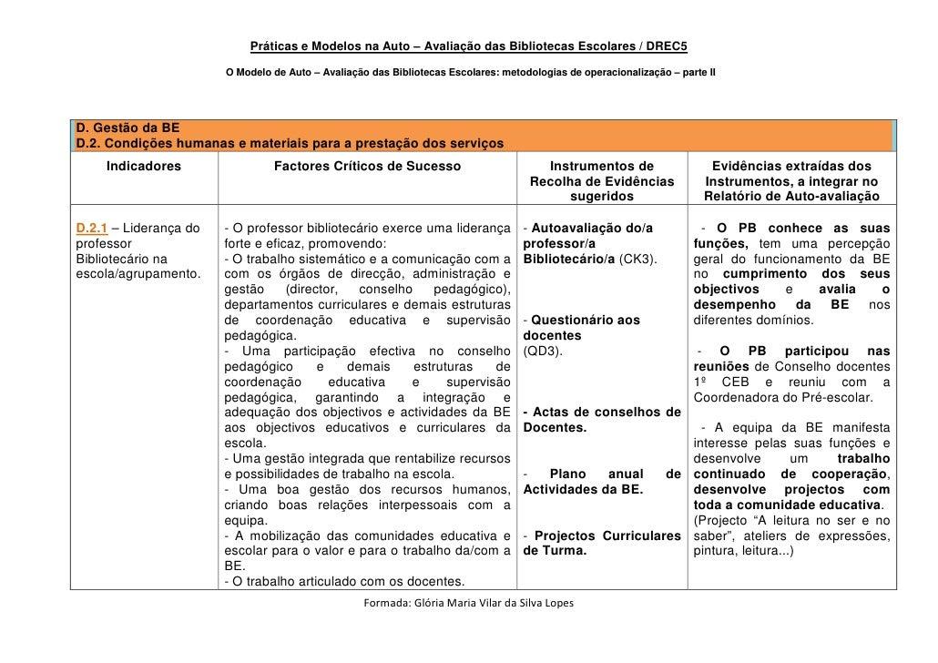Práticas e Modelos na Auto – Avaliação das Bibliotecas Escolares / DREC5                         O Modelo de Auto – Avalia...
