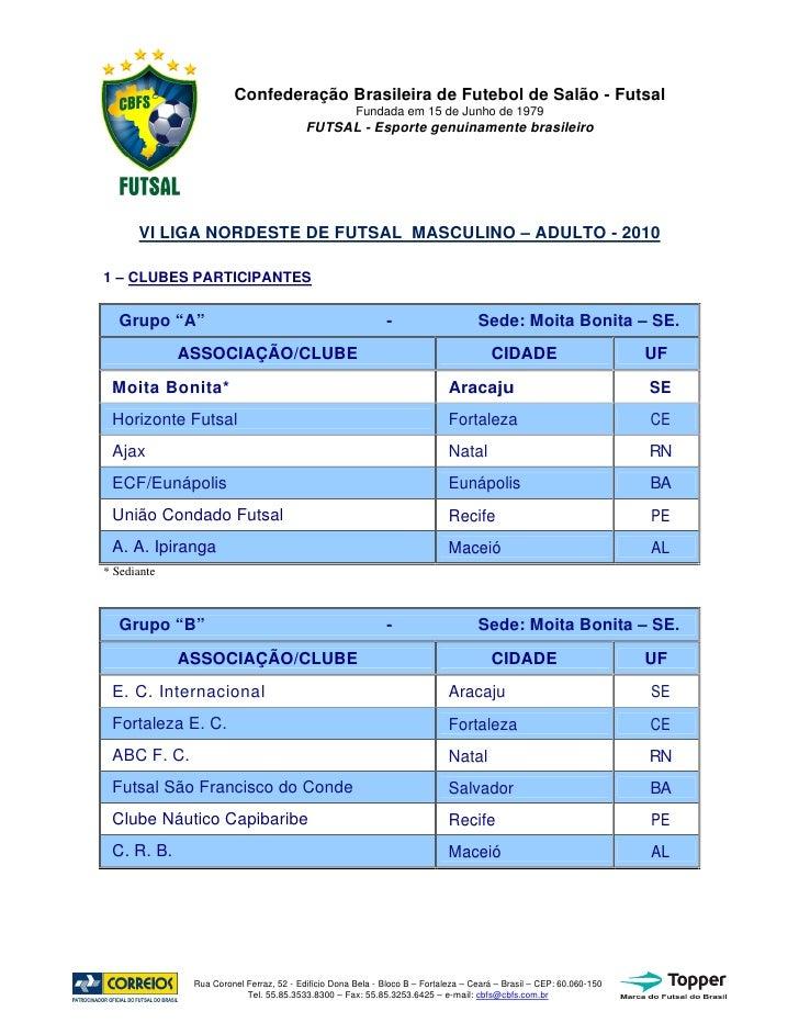 Confederação Brasileira de Futebol de Salão - Futsal                                                      Fundada em 15 de...