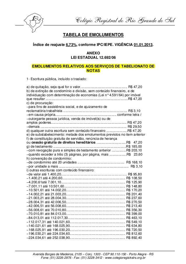 TABELA DE EMOLUMENTOS     Índice de reajuste 6,73%, conforme IPC/IEPE. VIGÊNCIA 01.01.2013.                               ...