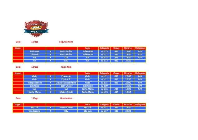 Data 11/ago Segunda-feira Jogos Local Categoria Chave Horario Delegado Eminente X Santa Emília Lubienska sub 13 B13 19:00 ...