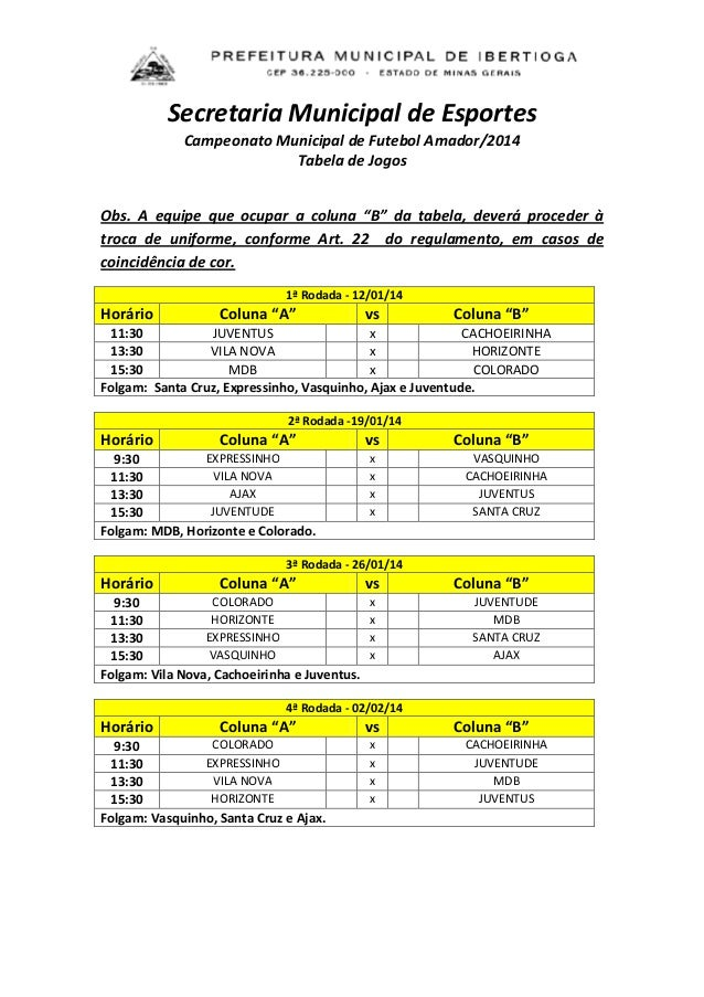 Secretaria Municipal de Esportes Campeonato Municipal de Futebol Amador/2014 Tabela de Jogos Obs. A equipe que ocupar a co...