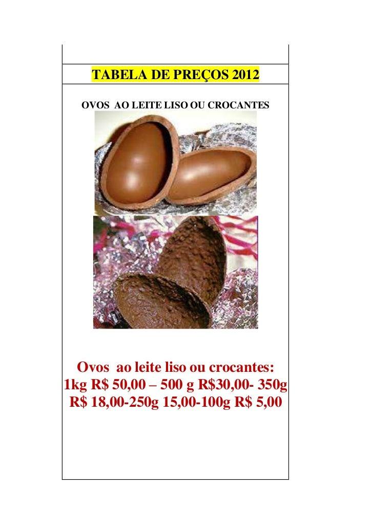 TABELA DE PREÇOS 2012         LISO OU CROCANTE  OVOS AO LEITE LISO OU CROCANTES  Ovos ao leite liso ou crocantes:1kg R$ 50...