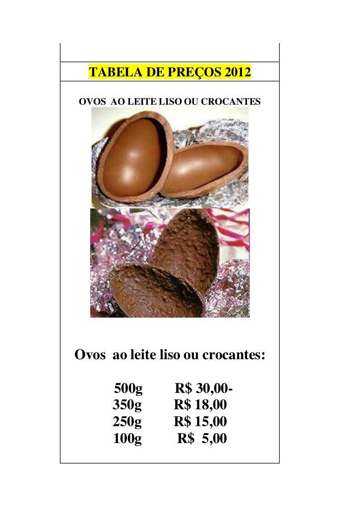 TABELA DE PREÇOS 2012        LISO OU CROCANTEOVOS AO LEITE LISO OU CROCANTESOvos ao leite liso ou crocantes:      500g    ...