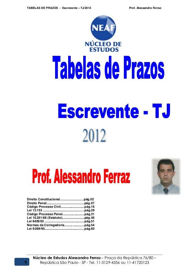 TABELAS DE PRAZOS - Escrevente – TJ/2012 Prof. Alessandro FerrazNúcleo de Estudos Alessandro Ferraz – Praça da República 7...