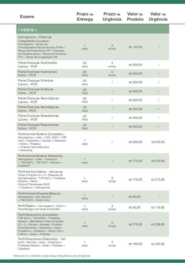 tabela de preços provet 2013210 Precos Exames Laboratoriais #3