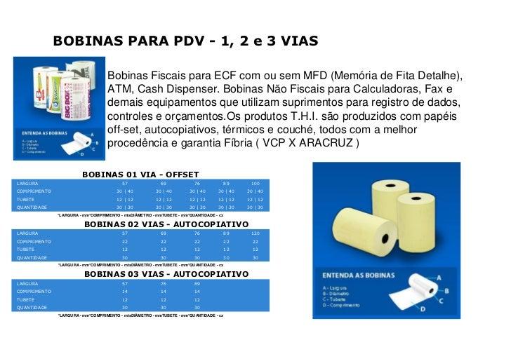 BOBINAS PARA PDV - 1, 2 e 3 VIAS                                   Bobinas Fiscais para ECF com ou sem MFD (Memória de Fit...