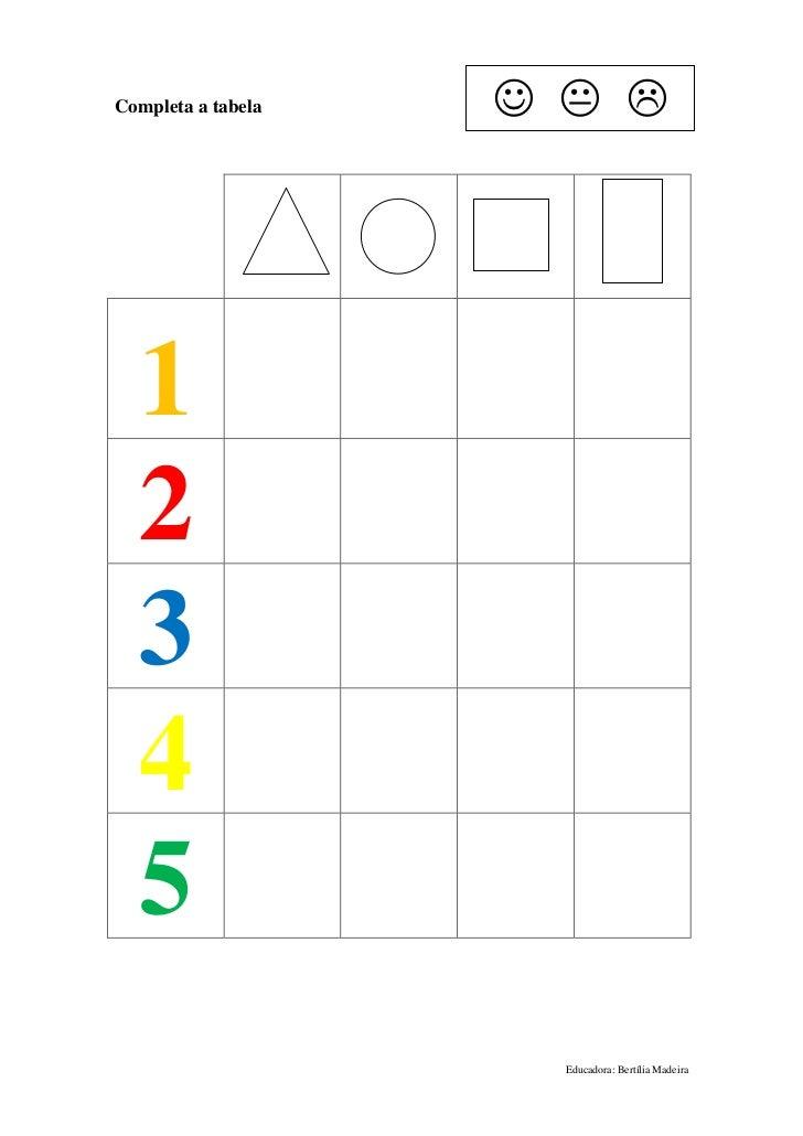 Completa a tabela       1  2  3  4  5                      Educadora: Bertília Madeira