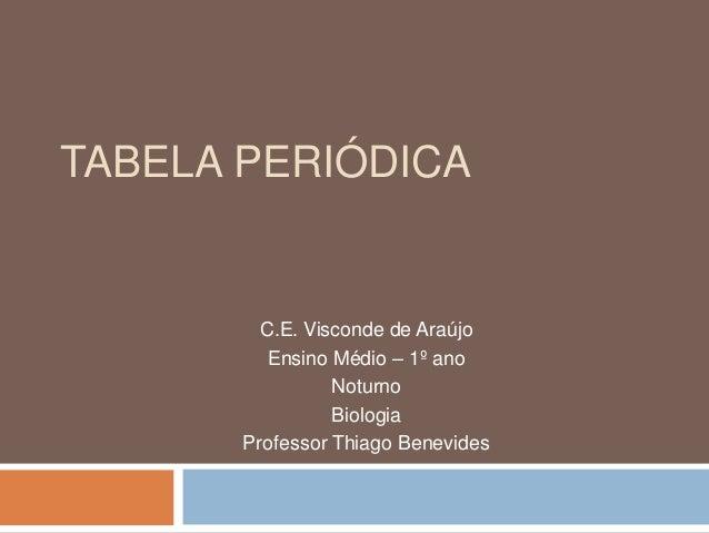 TABELA PERIÓDICA C.E. Visconde de Araújo Ensino Médio – 1º ano Noturno Biologia Professor Thiago Benevides