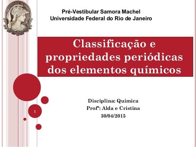 Disciplina: Química Profª: Alda e Cristina 30/04/2015 1 Pré-Vestibular Samora Machel Universidade Federal do Rio de Janeir...