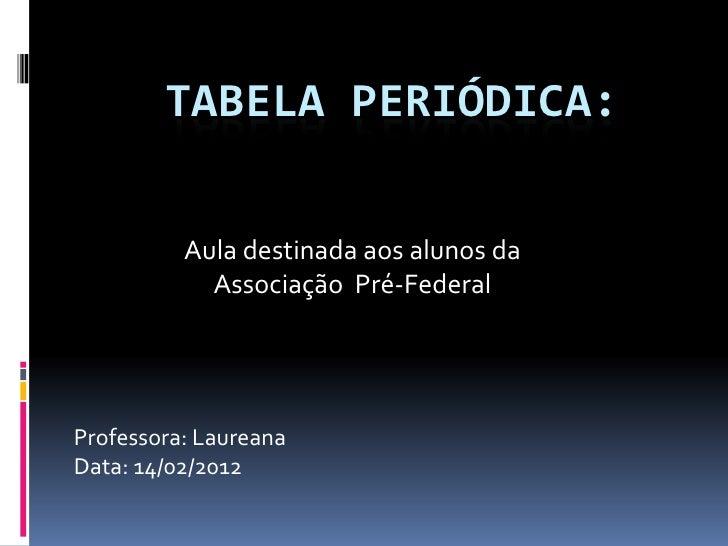 TABELA PERIÓDICA:          Aula destinada aos alunos da            Associação Pré-FederalProfessora: LaureanaData: 14/02/2...