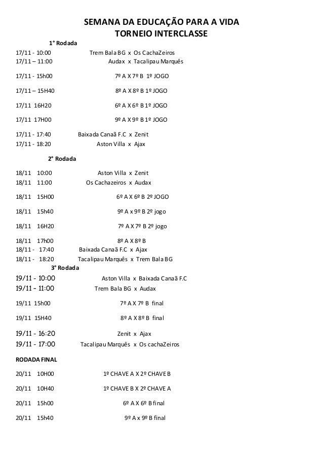 SEMANA DA EDUCAÇÃO PARA A VIDA  TORNEIO INTERCLASSE  1° Rodada  17/11 - 10:00 Trem Bala BG x Os CachaZeiros  17/11 – 11:00...