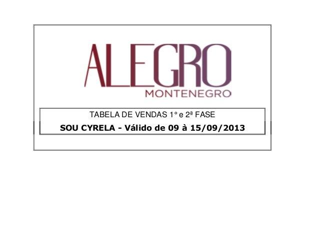 TABELA DE VENDAS 1° e 2ª FASE SOU CYRELA - Válido de 09 à 15/09/2013SOU CYRELA - Válido de 09 à 15/09/2013