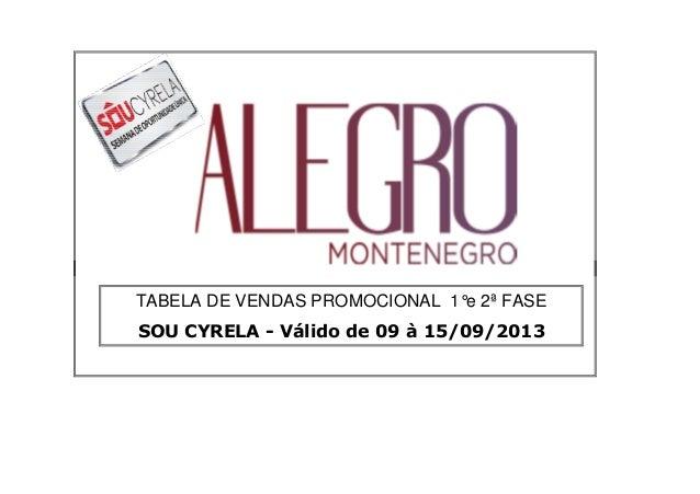 ##### TABELA DE VENDAS PROMOCIONAL 1°e 2ª FASE SOU CYRELA - Válido de 09 à 15/09/2013