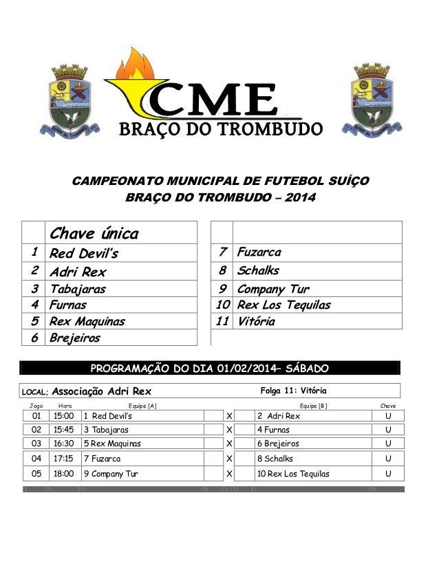 CAMPEONATO MUNICIPAL DE FUTEBOL SUÍÇO BRAÇO DO TROMBUDO – 2014  Chave única  1 Red Devil's 2 Adri Rex 3 4 5 6  7 Fuzarca 8...