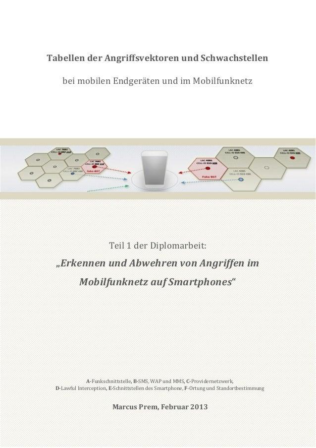Tabellen der Angriffsvektoren und Schwachstellen   bei mobilen Endgeräten und im Mobilfunknetz                       Teil ...