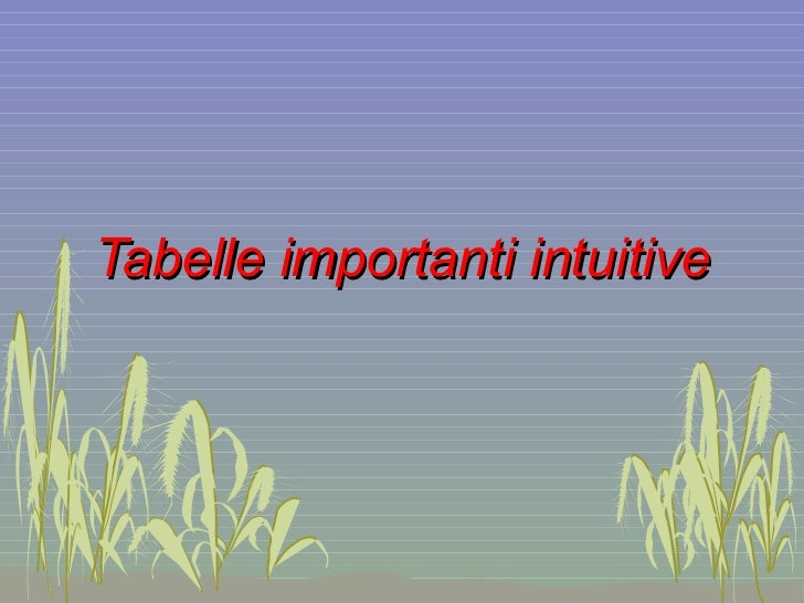 Tabelle importanti intuitive