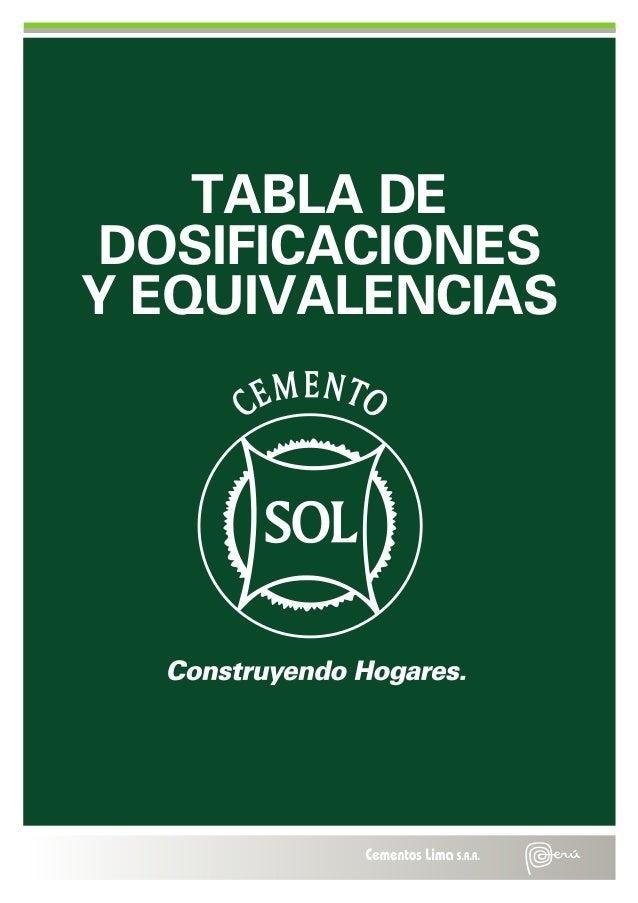 TABLA DE DOSIFICACIONES Y EQUIVALENCIAS