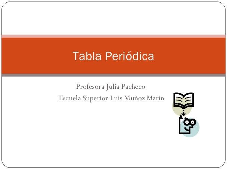 Profesora Julia Pacheco  Escuela Superior Luis Muñoz Marín Tabla Periódica