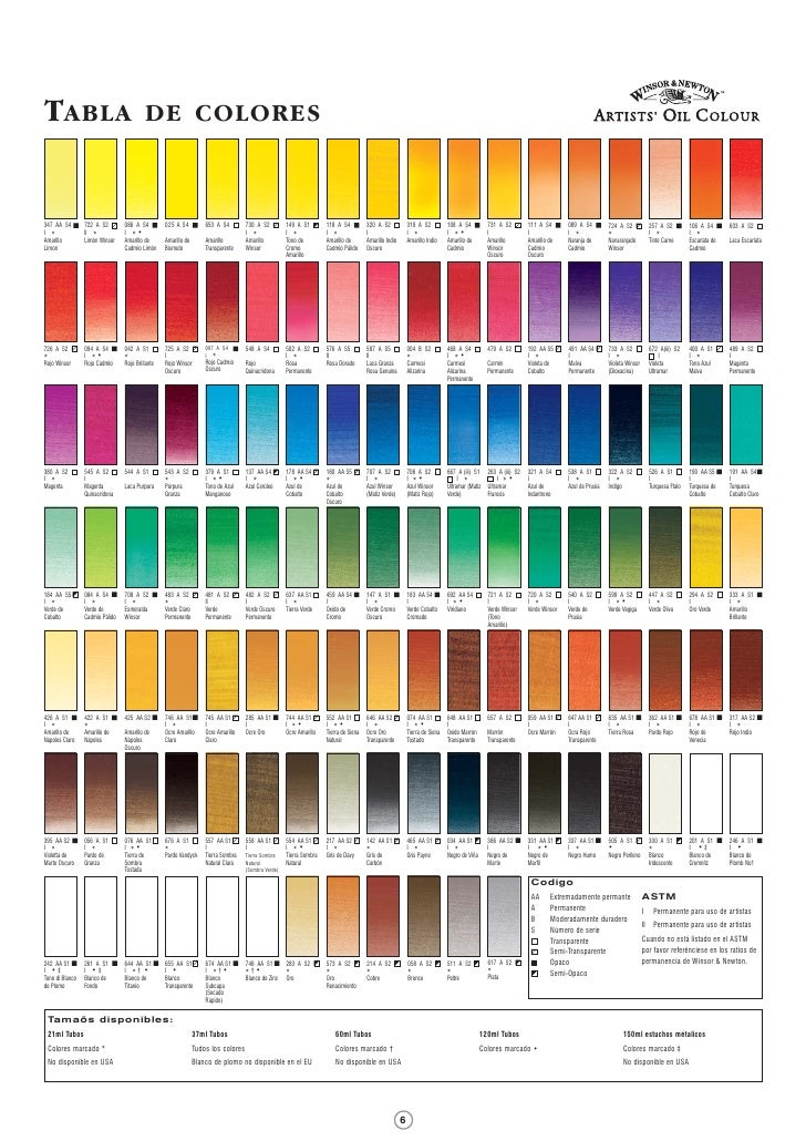 Tabla de colores for Tabla colores pintura