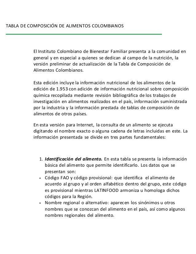 Tabla de composici n de alimentos colombianos - Contenido nutricional de los alimentos ...