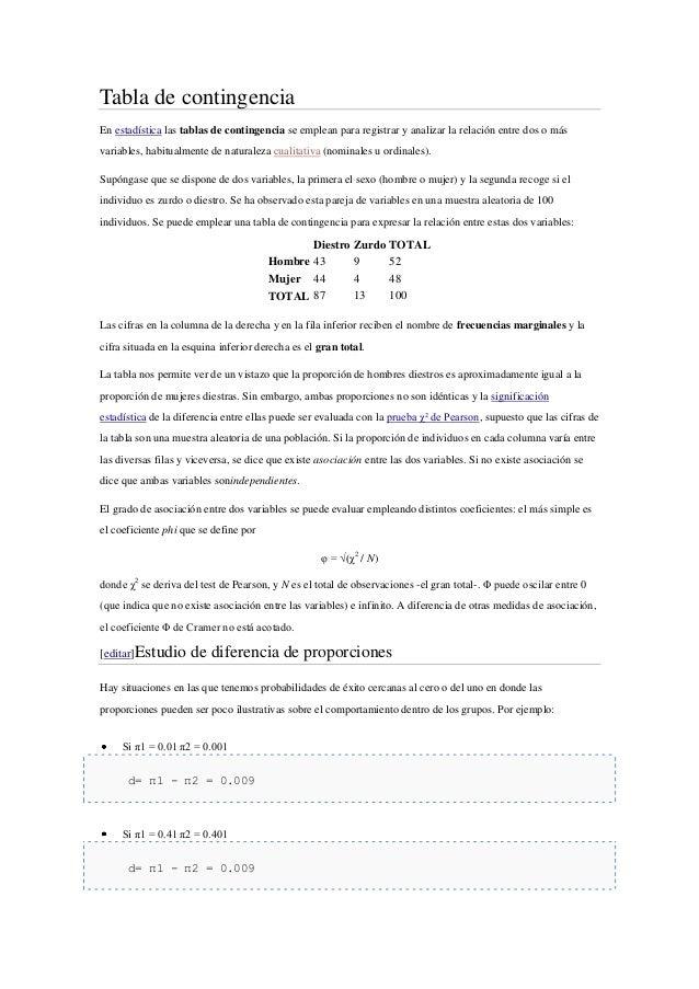 Tabla de contingencia En estadística las tablas de contingencia se emplean para registrar y analizar la relación entre dos...