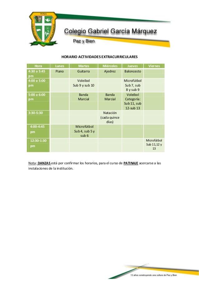 HORARIO ACTIVIDADES EXTRACURRICULARESHora Lunes Martes Miércoles Jueves Viernes4:30 a 5:45pmPiano Guitarra Ajedrez Balonce...