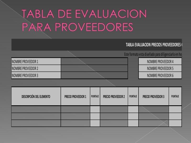 TABLA EVALUACION PRECIOS PROVEEDORES OFEREN                                                                               ...