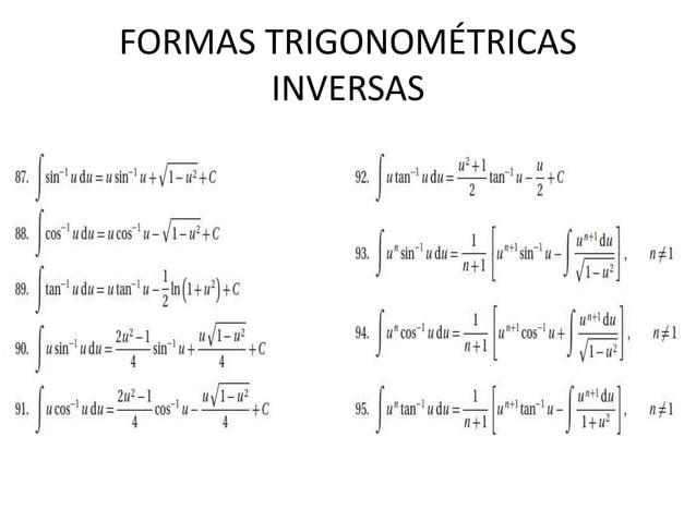 FORMAS TRIGONOMÉTRICAS INVERSAS