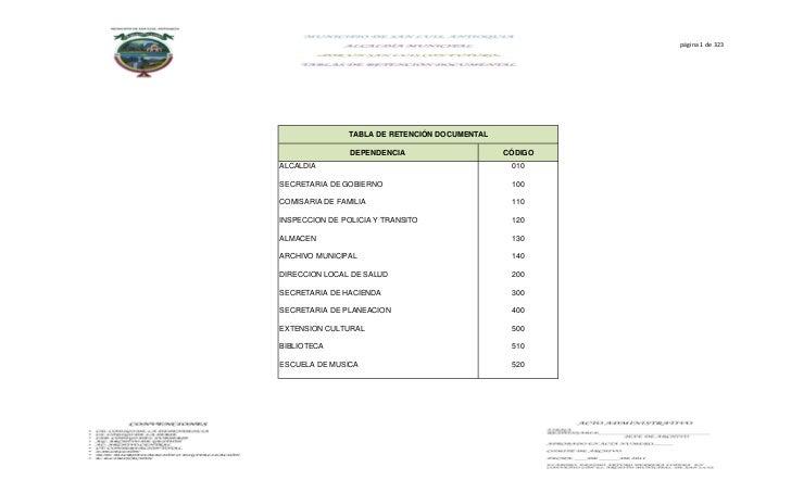 página 1 de 323               TABLA DE RETENCIÓN DOCUMENTAL                DEPENDENCIA                    CÓDIGOALCALDIA  ...