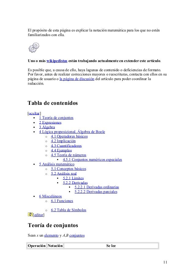 El propósito de esta página es explicar la notación matemática para los que no estén familiarizados con ella. Uno o más wi...