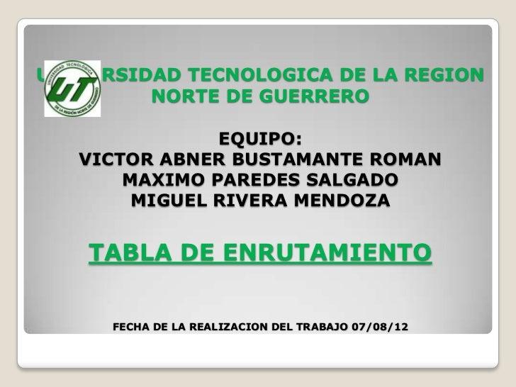 UNIVERSIDAD TECNOLOGICA DE LA REGION         NORTE DE GUERRERO               EQUIPO:   VICTOR ABNER BUSTAMANTE ROMAN      ...